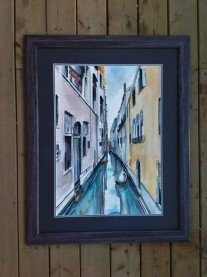 """Canals of Venice"" Framed Watercolor on paper 2015. SOLD"