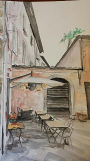 """Osteria Lucca"" Watercolor on paper 2015 SOLD"