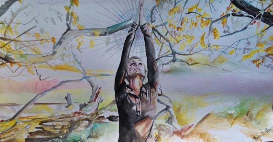 Prairie Yoga Original Art By Michaela Hoppe