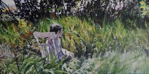 """Waiting"" 18x30 Oil on exhibition canvas painted in 2015 $1250"
