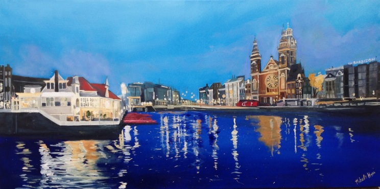 """""""Amsterdam Central"""" 18x30 oil on exhibition canvas painted in 2016. $1050"""