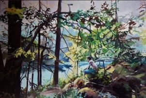 """""""Ahead By A Century""""24x36 oil on treated pine cradle board $1700 Available through Boheme Gallery, Saskatoon"""