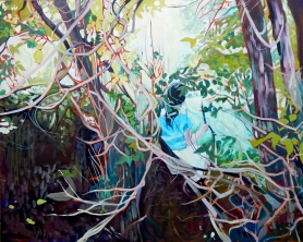"""""""Dryad"""" 24x30 oil on cradle board painted in 2017. SOLD"""