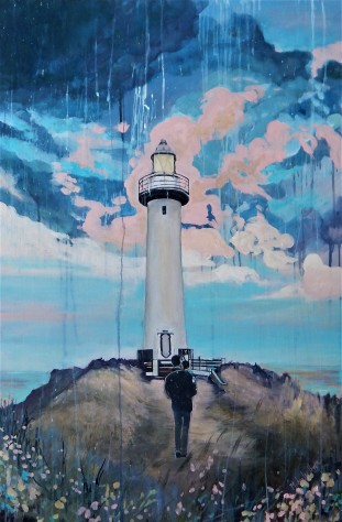 """""""Lighthouse"""" 30x45 oil on cradle board painted in 2017. $1870"""