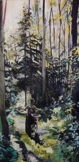 """Lost in the Forest of Light and Shadow"" 24x48 oil on cradle board painted in 2017. SOLD"