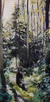 """""""Lost in the Forest of Light and Shadow"""" 24x48 oil on cradle board painted in 2017. $1650 AVAILBLE EXCLUSIVELY AT THE BOHEME GALLERY"""
