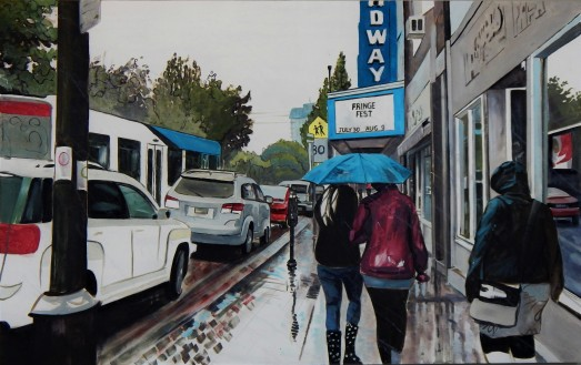 """""""Share My Umbrella"""" 30x48 oil on cradle board painted in 2017. $1870"""