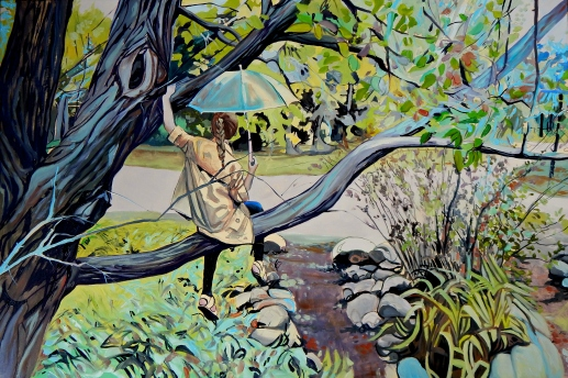 """""""Waiting Out The Rain, My Own Way"""" 24x36 oil on exhibition canvas painted in 2017. $1520, AVAILBLE EXCLUSIVELY AT THE BOHEME GALLERY"""