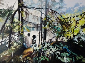 """""""Where Ever You Go, I Will Follow"""" 30x40 oil on cradle board SOLD"""