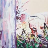 """""""Go To Sleep Giraffe"""" 10x10 acrylic on exhibition canvas painted in 2017. $300 Available through Boheme Gallery, Saskatoon"""