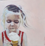 """Ice cream"" 10×10 acrylic on exhibition canvas SOLD"