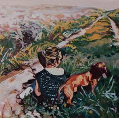 """""""A Dogs Best Friend """"10x10 acrylic on exhibition canvas $300 Available through Boheme Gallery, Saskatoon"""