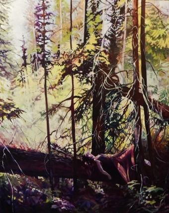 """Atop a Fallen Giant"" 48x60 oil on exhibition canvas $4500 Available at Dervilia Design, Saskatoon"