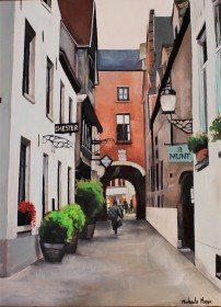 """""""Alley in Bruges"""" 18x24 oil on exhibition canvas painted in 2018. $1200 Available through Boheme Gallery, Saskatoon"""