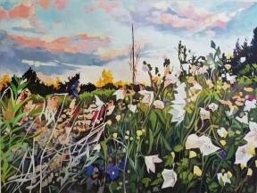 """""""Riot in the Garden"""" 18x24 oil on exhibition canvas. $1200 Available through Boheme Gallery, Saskatoon"""