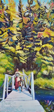 """Breathing in Courage"" 25x48 oil on exhibition canvas $2000 Available through Boheme Gallery, Saskatoon"