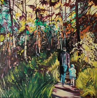 """A Hike With Dad"" 30x30 oil on exhibition canvas $1900"