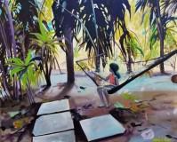 """Secret Hammock"" 18x24 oil on exhibition canvas $1250"
