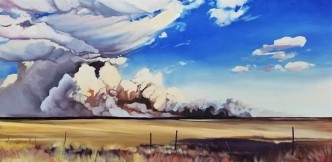 """Fenceline"" 24x48 oil on exhibition canvas $2200"