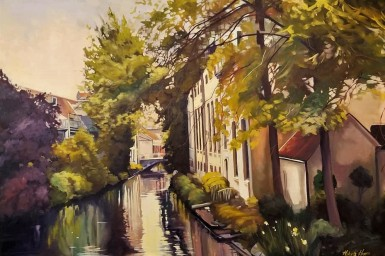 """""""Canal in Bruges"""" 24x36 oil on exhibition canvas $1700"""