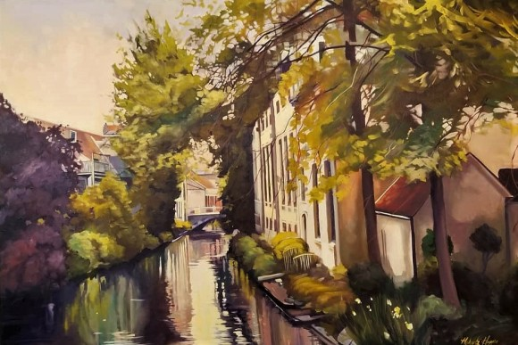 """Canal in Bruges"" 24x36 oil on exhibition canvas $1700"