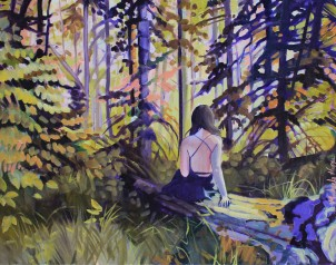 """Into the Woods, Study"" 8x10 oil on exhibition canvas $350"